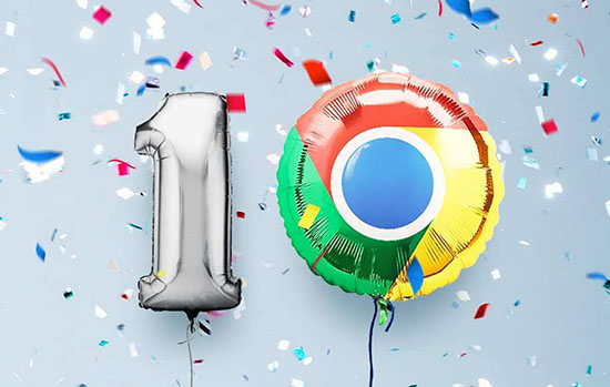 Ballons of a number one and a zero, with the zero being represented by Chrome's colored logo.